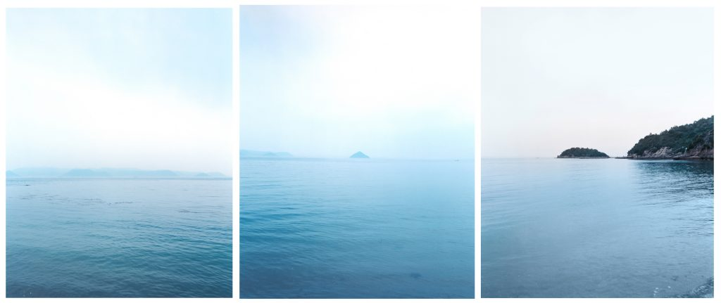 View from Naoshima island, Seto island sea, from The Yokohama Project 2015, 80x100cm (each), mounted on D-bond with Wood frame © Giada Ripa